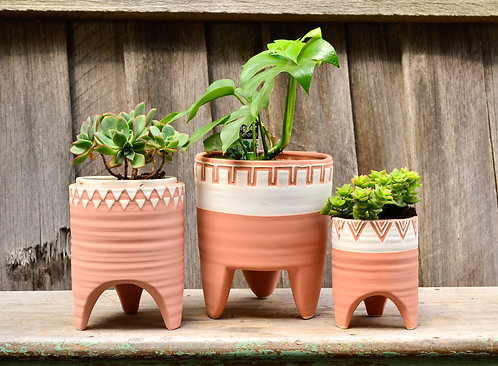 Terracotta and White Geometric Footed Patterned Pot Planters