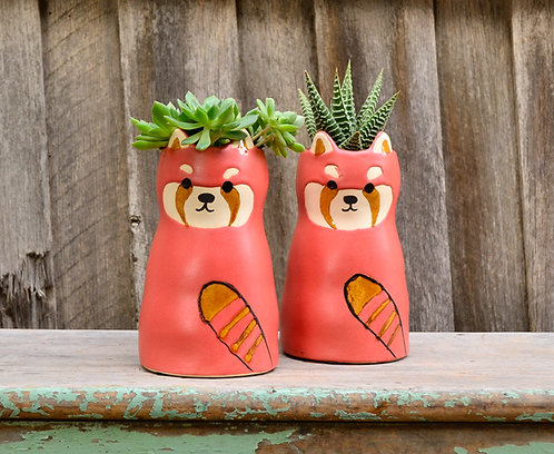 Ceramic Ricardo Raccoon Animal Planter Plant Pot