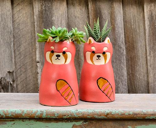 Ceramic Ricardo Raccoon Animal Planter Plant Pot
