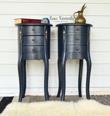 Vintage Tall Provincial Midnight Blue Round Bedside Tables with Gold Gilding