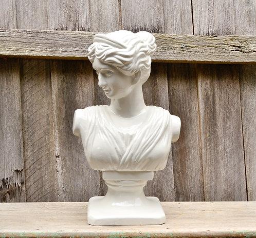 Large Ceramic Antique Roman Inspired Female Bust Statue