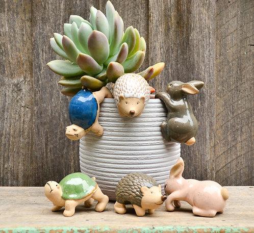 Handmade Ceramic Pot Planter Pals Ceramic Pot Hanging Animals Hedgehog - Rabbit