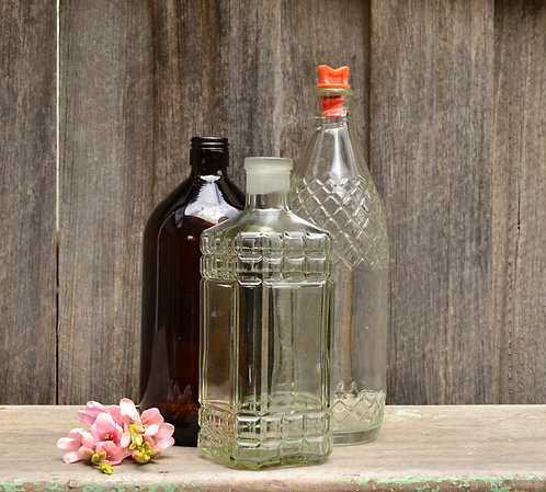 Set of Three Large Vintage Bottle Collection