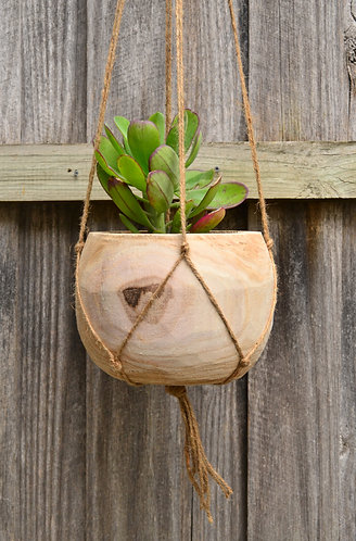 Modern Natural Timber Round Indoor Hanging Plant Pot Planter