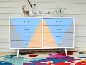 Custom Modern Grey and Blue Retro Inspired Dresser