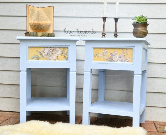 Hardwood Pastel Powder Blue Bedside Tables with Yellow Floral Accent Drawer