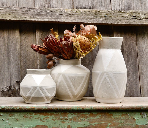Ceramic Taupe Grey and White Matte Geometric Decorative Vessels Vase Planter Pot