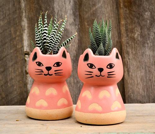 Charlie Peachy Pink Small Ceramic Cat Planter