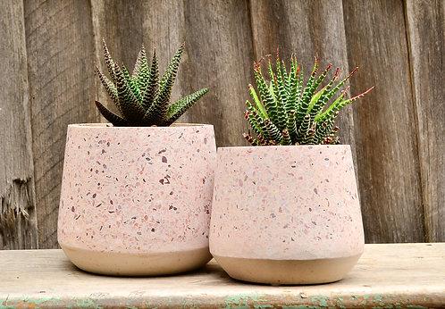 Multi Coloured Pink Terrazzo Concrete Stone Pot Planter