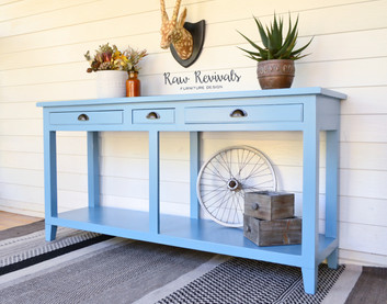 Large Three Drawer Long Blue Console or Hall Table