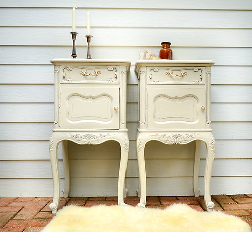 Provincial Tall Creamy White Bedside Tables with Marble Tabletop