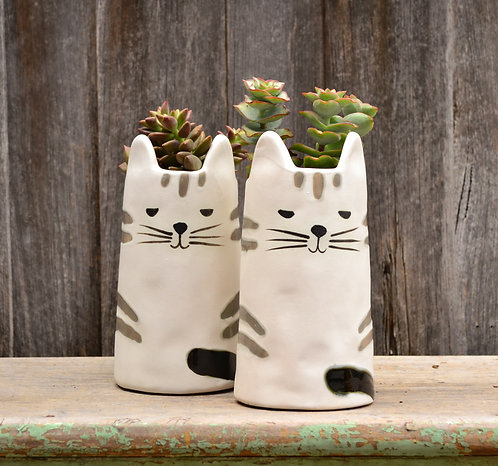 Handmade Quirky 'Minky' Cat White & Black Tall Plant Pot Planter