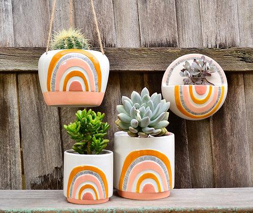 Ceramic White, Mustard and Peach Woodstock Pot Planters