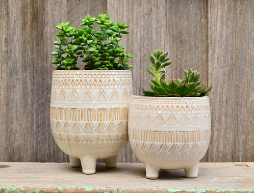 White Patterned Ceramic Footed Plant Pot Planter