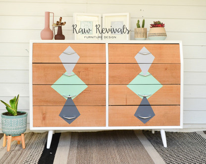 Modern Mid Century White & Timber Geometric Chest of Drawers