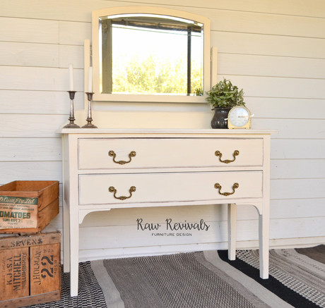 Warm White Distressed Vintage Dresser