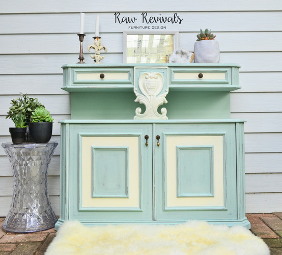 Vintage Duck Egg Green Cabinet with White Accents