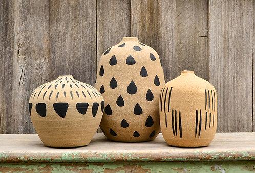 Modern Matte Beige and Black Abstracts Patterned Vases