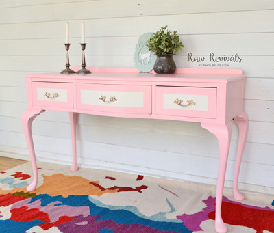 Vintage Pastel Pink Queen Anne Dresser with White Accents