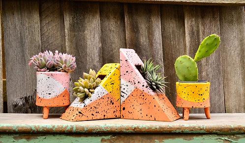 Abstract Colourblock Paint Splatter Geometric Planters