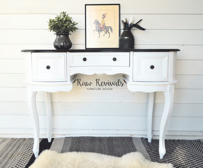Provincial Pure White Chalk Paint Dresser with Black Top