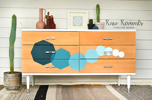 Ombre Geometric Six Drawer Lowboy Chest of Drawers
