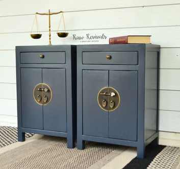 Oriental Inspired Navy Blue Bedside Tables