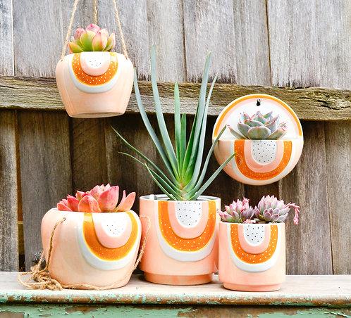 Ceramic Peach and Mustard Pot Planters