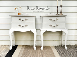 White Provincial Chalk Paint Bedside Tables