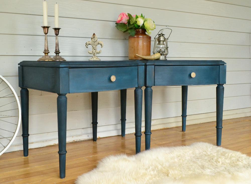 Vintage Dark Ocean Blue Bedside Tables