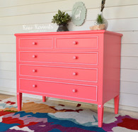 Vintage Vibrant Coral Bedroom Dresser with White Accents