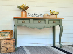 Classic Green and Timber Three Drawer Hall Table