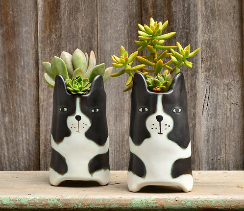 Handmade Cute 'Huxley' Dog Black & White Tall Plant Pot Planter