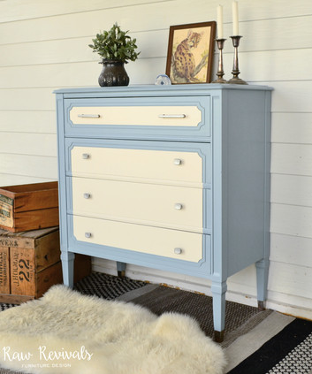Vintage Blue and White Four Drawer Chest of Drawers