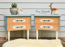Light Blue Mid Century Two Drawer Bedside Tables Set
