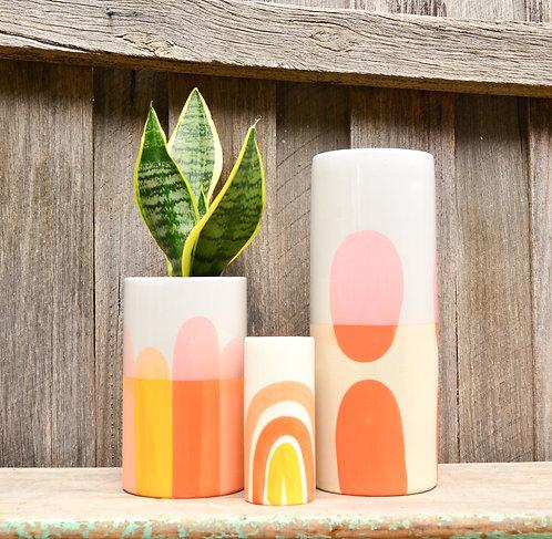 White Ceramic Hand Painted 'Horizon' Vases