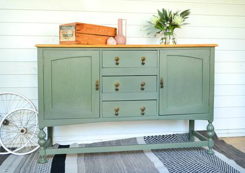 Large Vintage Bayberry Green Sideboard with Timber Top