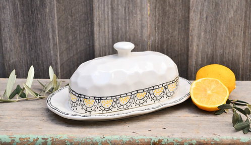 Large White Ceramic Butter Dish