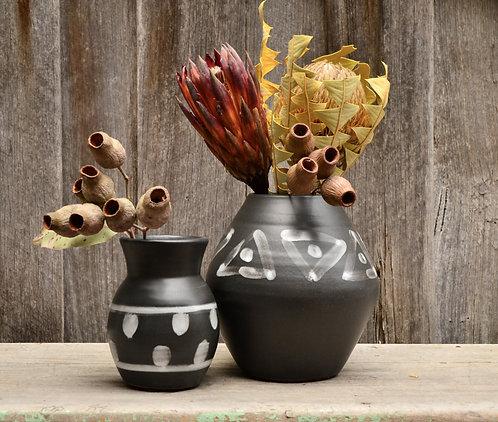 Amalfi Handmade Matte Black & White Pottery Vase