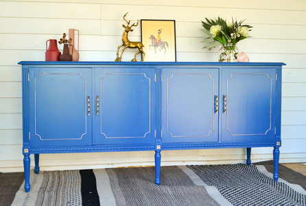 Custom 'Chinese Porcelain' Vintage Sideboard with German Silver Accents