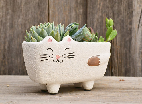 Quirky Handmade White 'Molly' Cat Plant Pot Planter