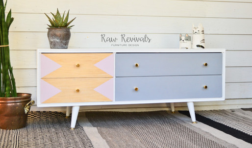 Retro Lowline White, Pink & Grey Entertainment Unit or Dresser