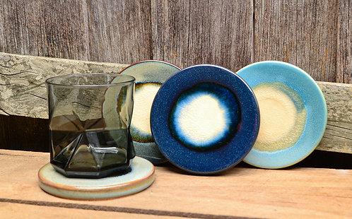 Set of Ceramic Coloured Round Coasters