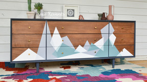 Original Mid Century Charcoal Grey Sideboard with Geometric Abstract Design