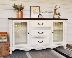 Large French Provincial Vintage Style White Sideboard with Dark Timber Top