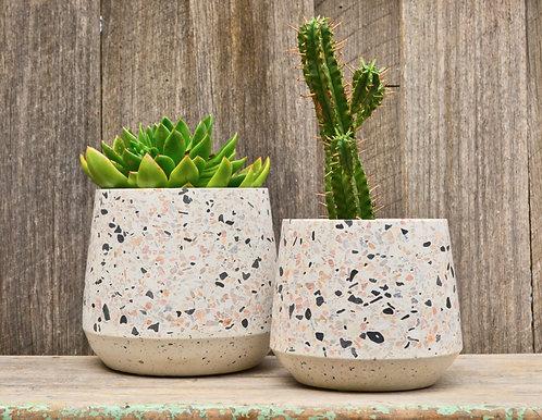 Multi Coloured Beige Terrazzo Concrete Stone Pot Planter