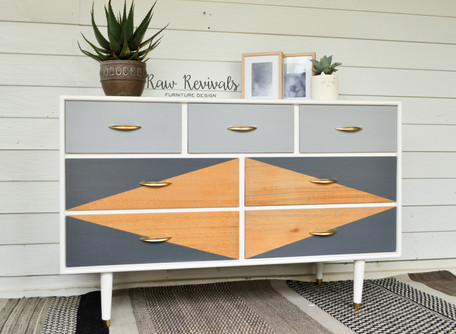 Shades of Grey Custom Retro Inspried Dresser