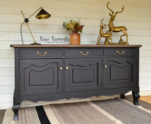Large Vintage Black Provincial Sideboard with Weathered Timber Top