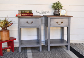 Hardwood Charcoal Grey Distressed Bedside Tables with Timber Top