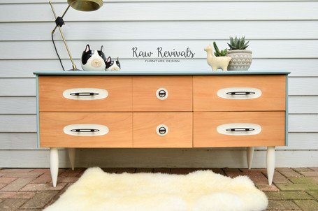 Light Blue Mid Century Four Drawer Bedroom Dresser or Sideboard